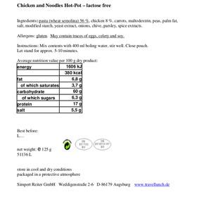 Travellunch Main Course 6 Mahlzeiten (Laktosefrei) 6 x 125g